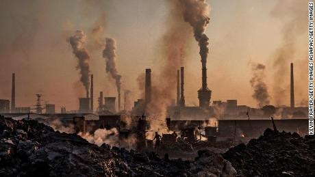 Smoke rises from a large steel plant in Inner Mongolia, China.