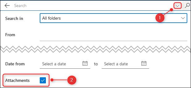 "The ""Attachments"" A check box in the search filter."