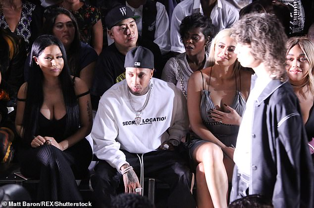Fan: The 38-year-old Grammy nominee (L) rapper, in particular, was known to have dressed up and set up court on the front row of his fashion shows (pictured in 2016)