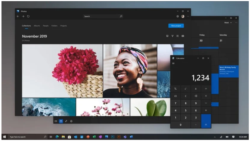This screenshot of the Photo & Calculator apps comes from a video that Microsoft Chief Product Officer Panos Panay dropped on Instagram to showcase the new UI concepts in March 2020.