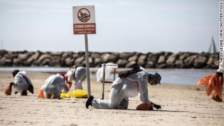 Voluntarii în echipament de protecție caută gudron de-a lungul coastei israeliene în Herzliya Betoah, la nord de Tel Aviv, pe 21 februarie.