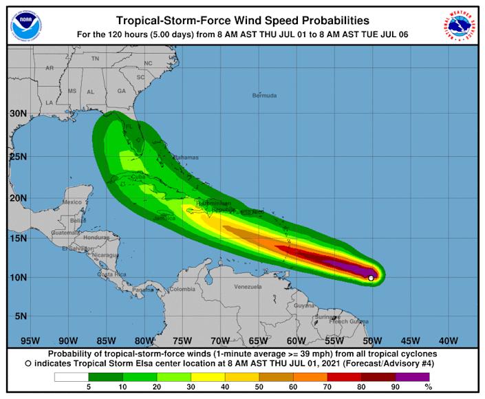 O hartă meteo intitulată Probabilitatea vitezei vântului tropical și puterea furtunii arată furtuna tropicală Elsa peste Florida și Caraibe