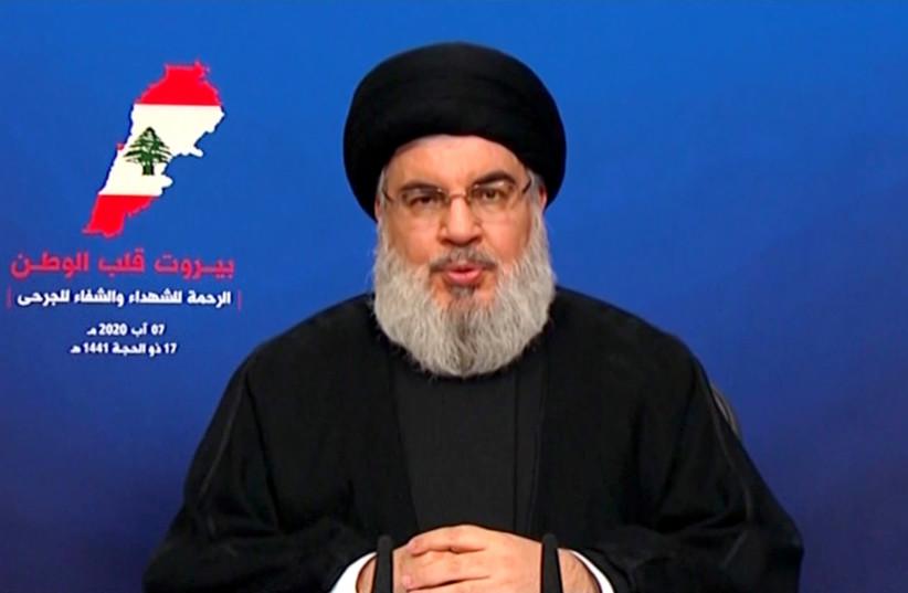 Liderul Hezbollah Sayyed Hassan Nasrallah susține un discurs televizat după explozia de marți în portul Beirut, Liban, 7 august 2020, în această imagine statică preluată dintr-un videoclip (Sursa: Al-Manar / HANDOUT VIA REUTERS)